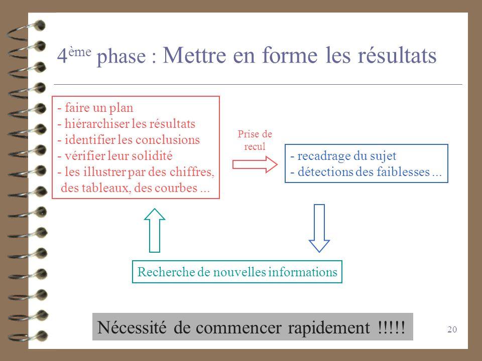 19 2) Travailler sur les informations 4 Trier les éléments les plus intéressants 4 Recouper les informations 4 Identifier les différences ou les contr