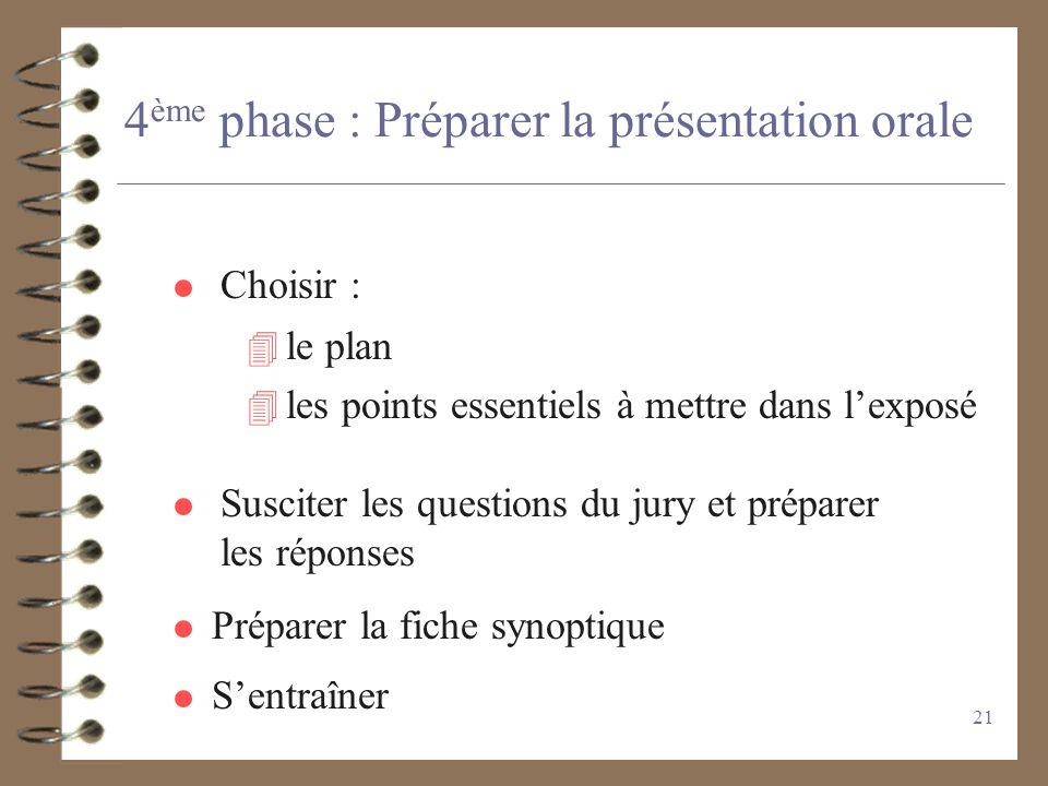 20 4 ème phase : Mettre en forme les résultats - faire un plan - hiérarchiser les résultats - identifier les conclusions - vérifier leur solidité - le