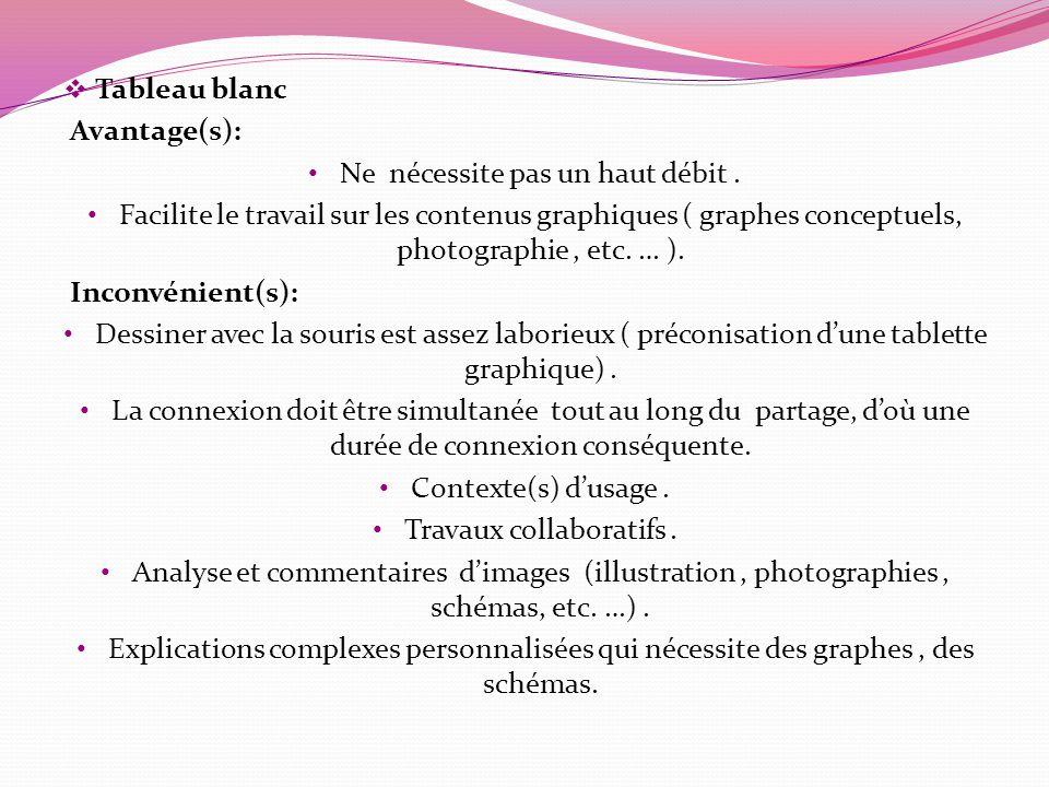 Tableau blanc Avantage(s): Ne nécessite pas un haut débit. Facilite le travail sur les contenus graphiques ( graphes conceptuels, photographie, etc. …