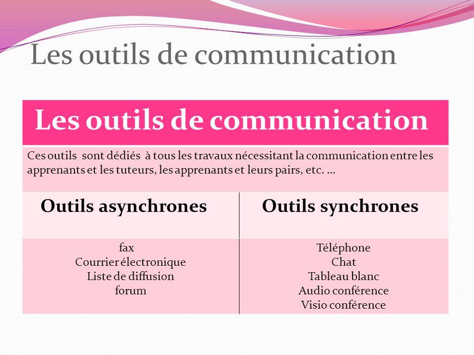 Les outils de communication Ces outils sont dédiés à tous les travaux nécessitant la communication entre les apprenants et les tuteurs, les apprenants