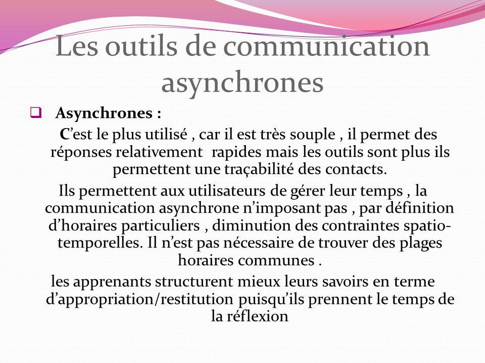 Les outils de communication asynchrones Asynchrones : Cest le plus utilisé, car il est très souple, il permet des réponses relativement rapides mais l