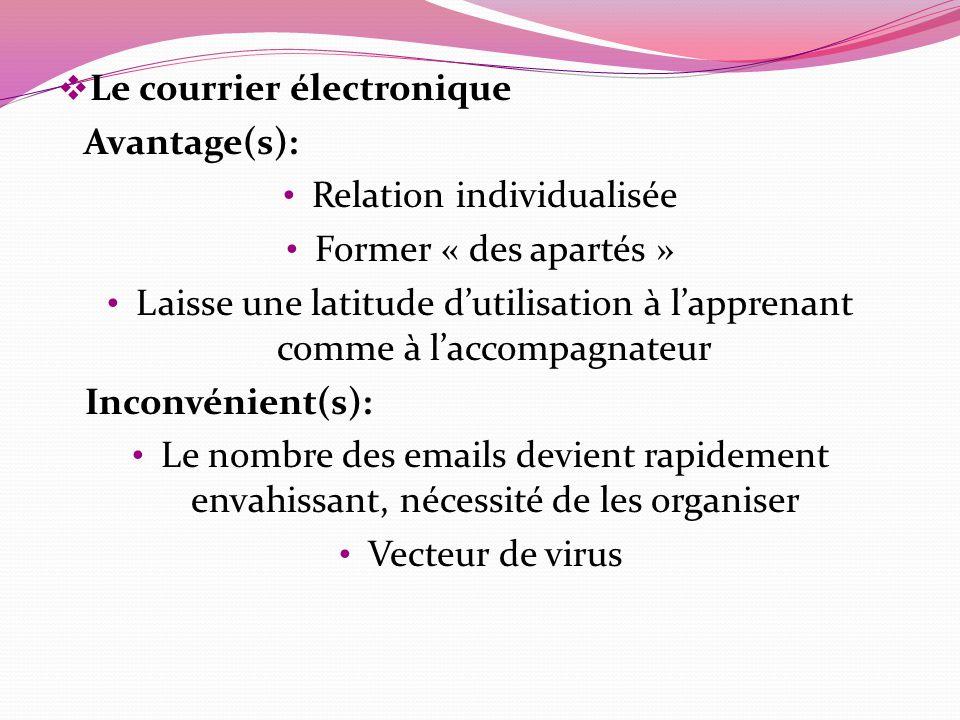 Le courrier électronique Avantage(s): Relation individualisée Former « des apartés » Laisse une latitude dutilisation à lapprenant comme à laccompagna
