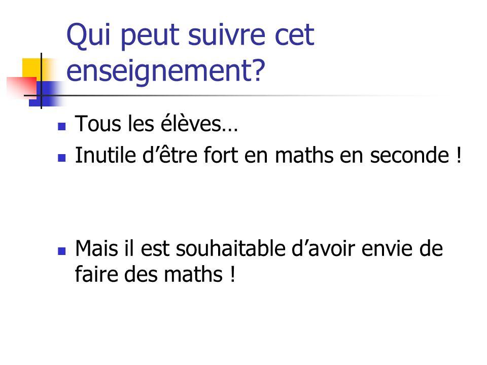 Qui peut suivre cet enseignement. Tous les élèves… Inutile dêtre fort en maths en seconde .