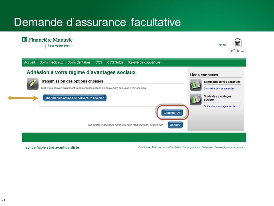 21 Demande dassurance facultative