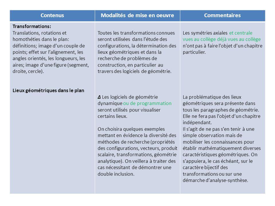 ContenusModalités de mise en oeuvreCommentaires Transformations: Translations, rotations et homothéties dans le plan: définitions; image dun couple de points; effet sur lalignement, les angles orientés, les longueurs, les aires; image dune figure (segment, droite, cercle).