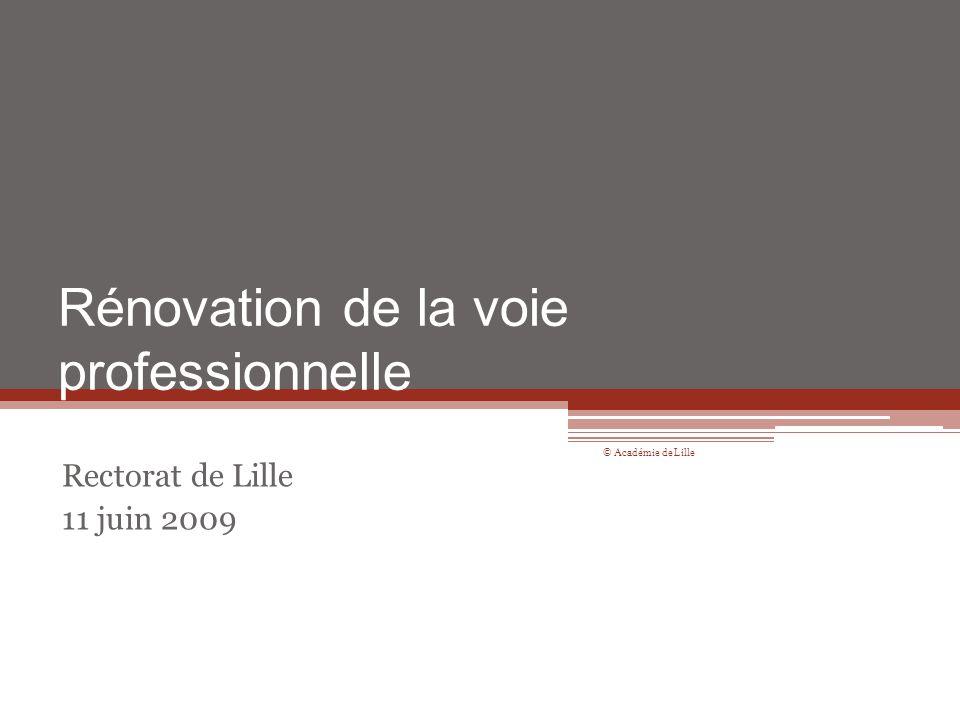 Rénovation de la voie professionnelle Rectorat de Lille 11 juin 2009 © Académie de Lille