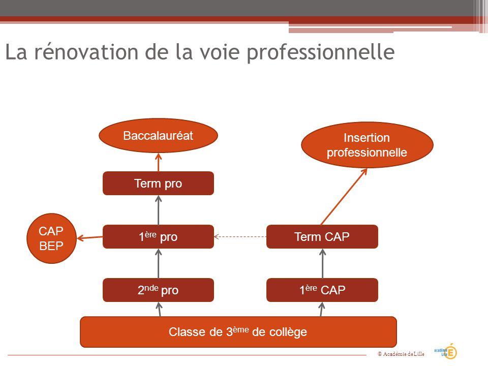 La rénovation de la voie professionnelle Insertion professionnelle Classe de 3 ème de collège 2 nde pro1 ère CAP 1 ère proTerm CAP Term pro CAP BEP Ba