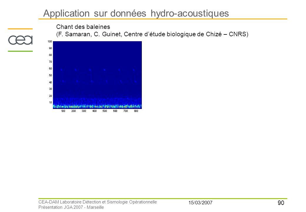 90 15/03/2007 CEA-DAM Laboratoire Détection et Sismologie Opérationnelle Présentation JGA 2007 - Marseille Application sur données hydro-acoustiques C