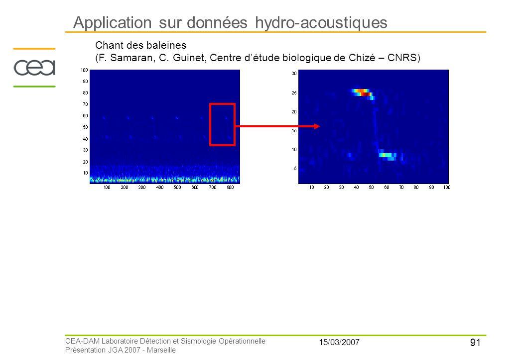 91 15/03/2007 CEA-DAM Laboratoire Détection et Sismologie Opérationnelle Présentation JGA 2007 - Marseille Application sur données hydro-acoustiques C