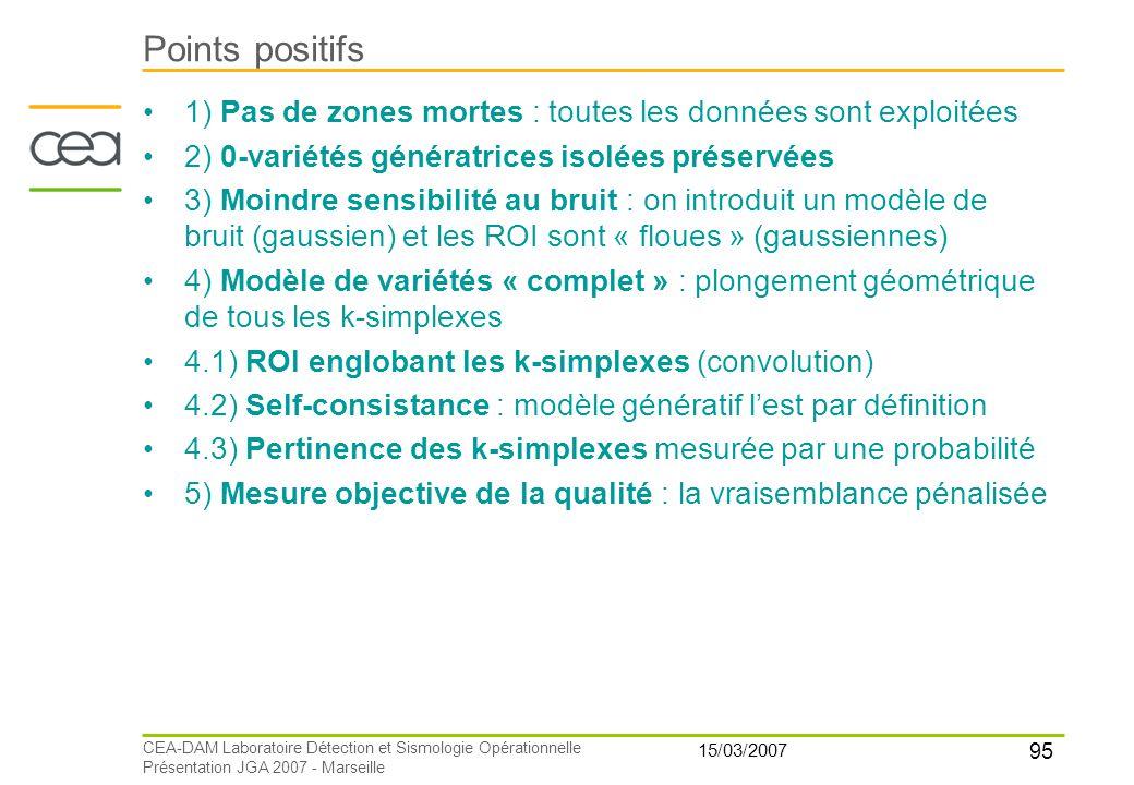 95 15/03/2007 CEA-DAM Laboratoire Détection et Sismologie Opérationnelle Présentation JGA 2007 - Marseille Points positifs 1) Pas de zones mortes : to