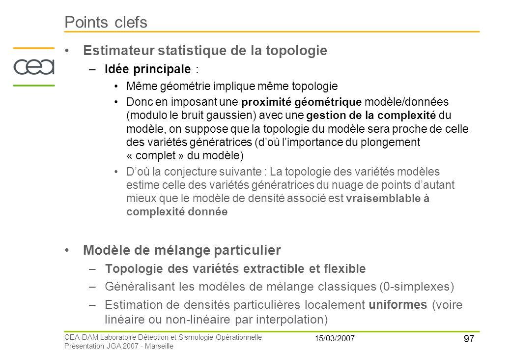 97 15/03/2007 CEA-DAM Laboratoire Détection et Sismologie Opérationnelle Présentation JGA 2007 - Marseille Points clefs Estimateur statistique de la t