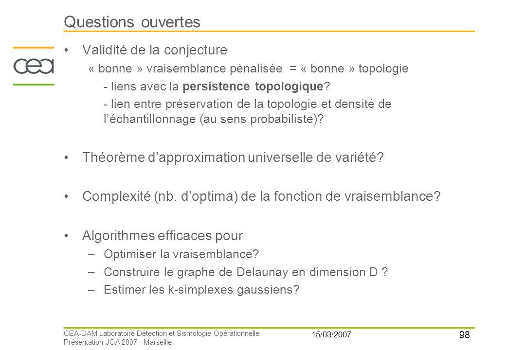 98 15/03/2007 CEA-DAM Laboratoire Détection et Sismologie Opérationnelle Présentation JGA 2007 - Marseille Questions ouvertes Validité de la conjectur