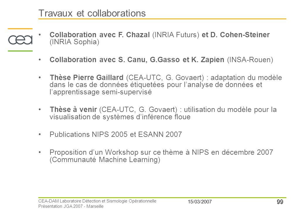 99 15/03/2007 CEA-DAM Laboratoire Détection et Sismologie Opérationnelle Présentation JGA 2007 - Marseille Travaux et collaborations Collaboration ave