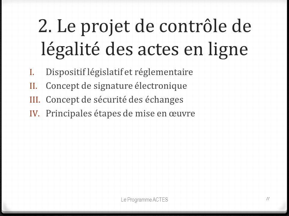 2. Le projet de contrôle de légalité des actes en ligne I. Dispositif législatif et réglementaire II. Concept de signature électronique III. Concept d