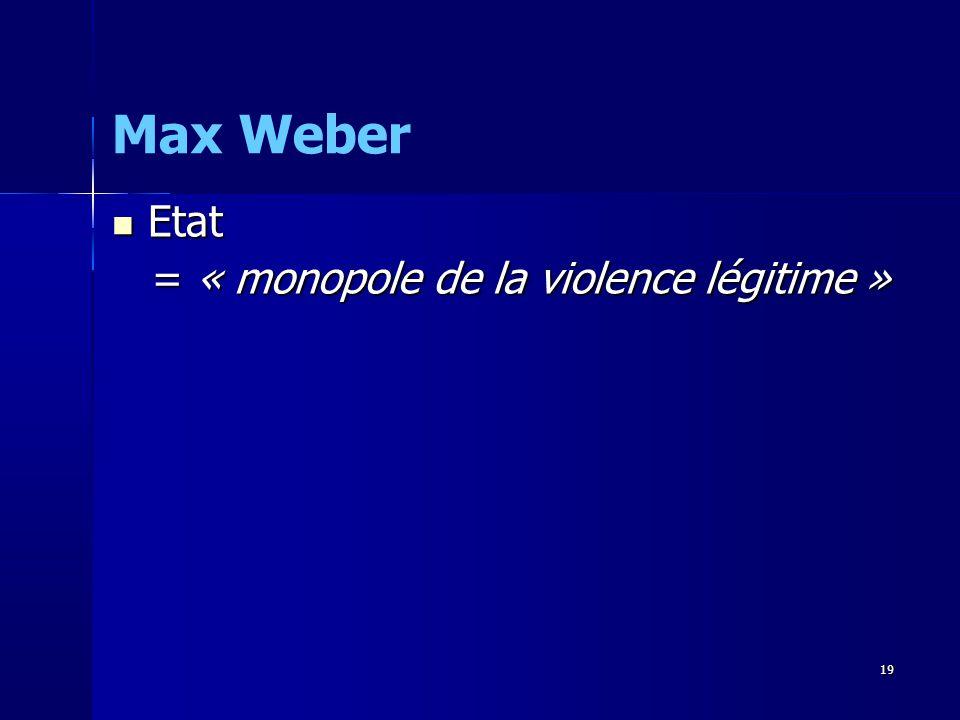 Etat Etat = « monopole de la violence légitime » = « monopole de la violence légitime » Max Weber 19