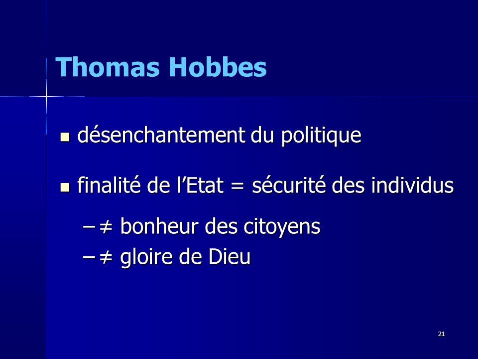 désenchantement du politique désenchantement du politique finalité de lEtat = sécurité des individus finalité de lEtat = sécurité des individus – bonheur des citoyens – gloire de Dieu Thomas Hobbes 21