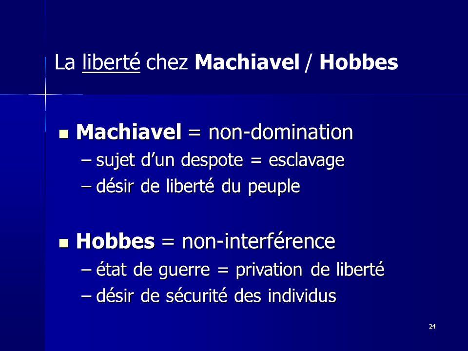 Machiavel = non-domination Machiavel = non-domination –sujet dun despote = esclavage –désir de liberté du peuple Hobbes = non-interférence Hobbes = non-interférence –état de guerre = privation de liberté –désir de sécurité des individus La liberté chez Machiavel / Hobbes 24