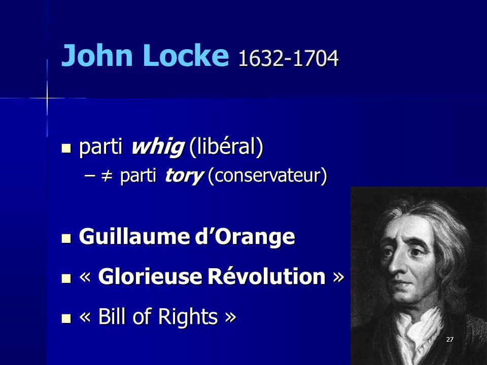 parti whig (libéral) parti whig (libéral) – parti tory (conservateur) Guillaume dOrange Guillaume dOrange « Glorieuse Révolution » « Glorieuse Révolution » « Bill of Rights » « Bill of Rights » 1632-1704 John Locke 1632-1704 27