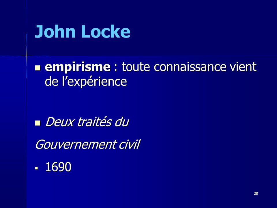 empirisme : toute connaissance vient de lexpérience empirisme : toute connaissance vient de lexpérience Deux traités du Deux traités du Gouvernement civil 1690 1690 John Locke 28
