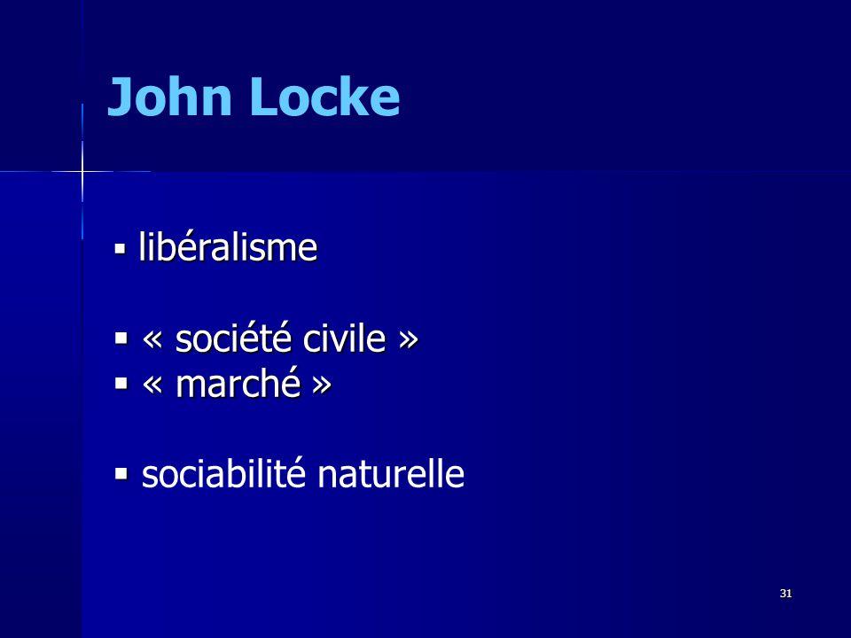 libéralisme libéralisme « société civile » « société civile » « marché » « marché » sociabilité naturelle John Locke 31