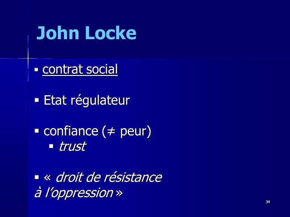 contrat social contrat social Etat régulateur Etat régulateur confiance ( peur) confiance ( peur) trust trust « droit de résistance à loppression » « droit de résistance à loppression » John Locke 34