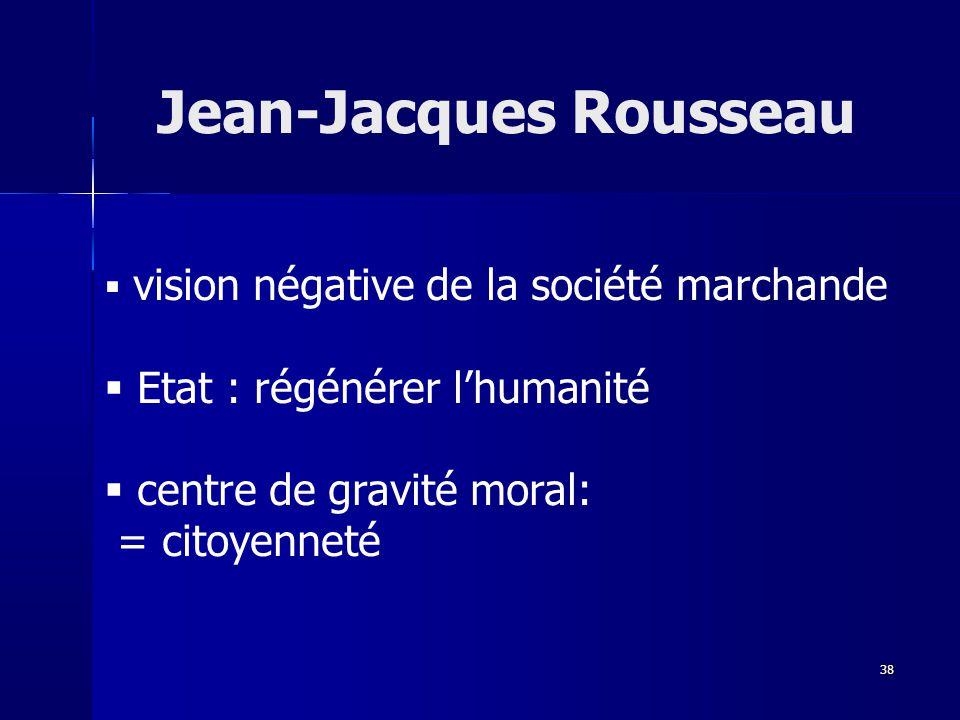 vision négative de la société marchande Etat : régénérer lhumanité centre de gravité moral: = citoyenneté Jean-Jacques Rousseau 38