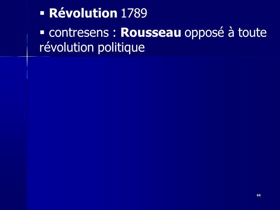Révolution 1789 contresens : Rousseau opposé à toute révolution politique44