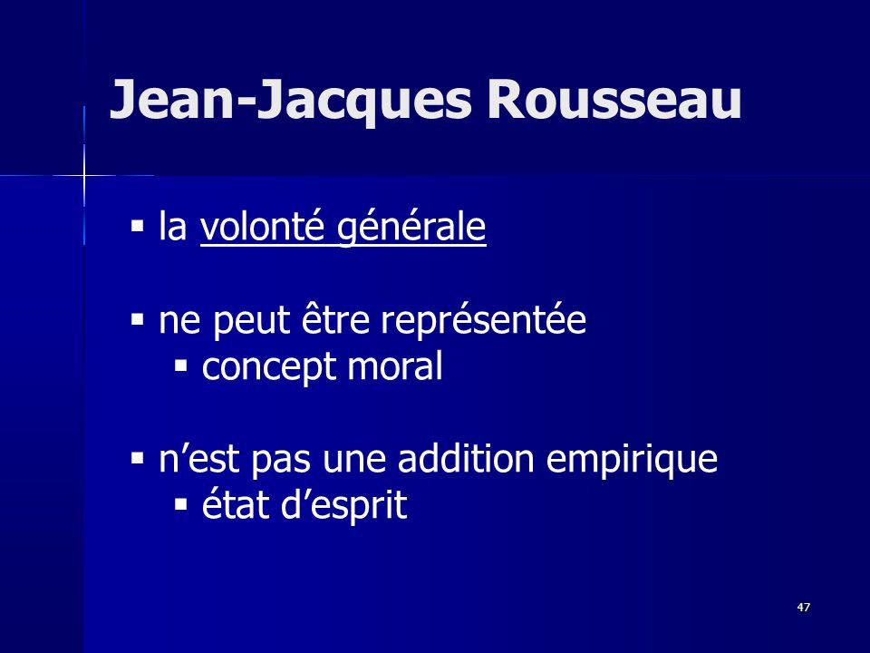 la volonté générale ne peut être représentée concept moral nest pas une addition empirique état desprit Jean-Jacques Rousseau 47
