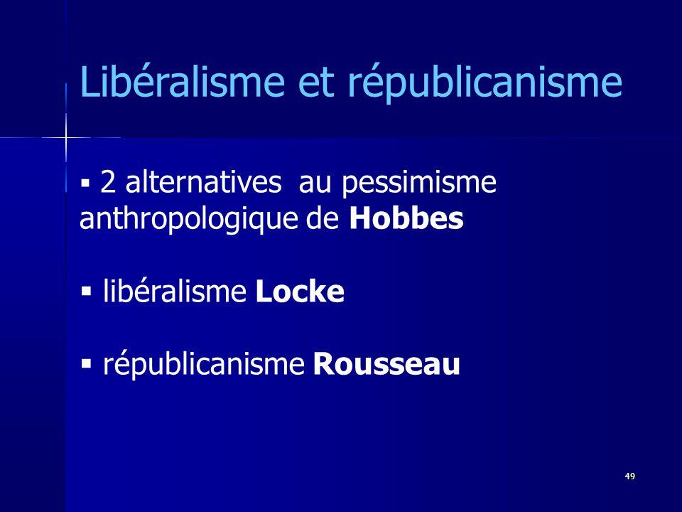 2 alternatives au pessimisme anthropologique de Hobbes libéralisme Locke républicanisme Rousseau Libéralisme et républicanisme 49