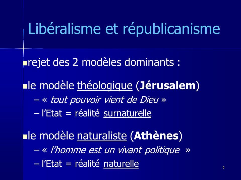 rejet des 2 modèles dominants : le modèle théologique (Jérusalem) –« tout pouvoir vient de Dieu » –lEtat = réalité surnaturelle le modèle naturaliste (Athènes) –« lhomme est un vivant politique » –lEtat = réalité naturelle Libéralisme et républicanisme 5