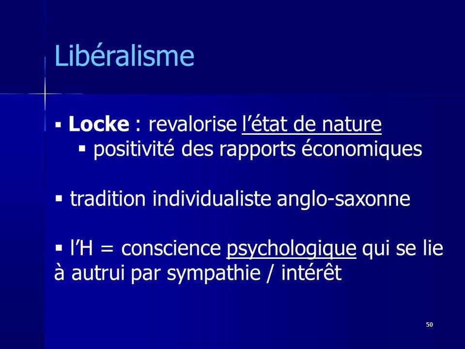 Locke : revalorise létat de nature positivité des rapports économiques tradition individualiste anglo-saxonne lH = conscience psychologique qui se lie à autrui par sympathie / intérêt Libéralisme 50