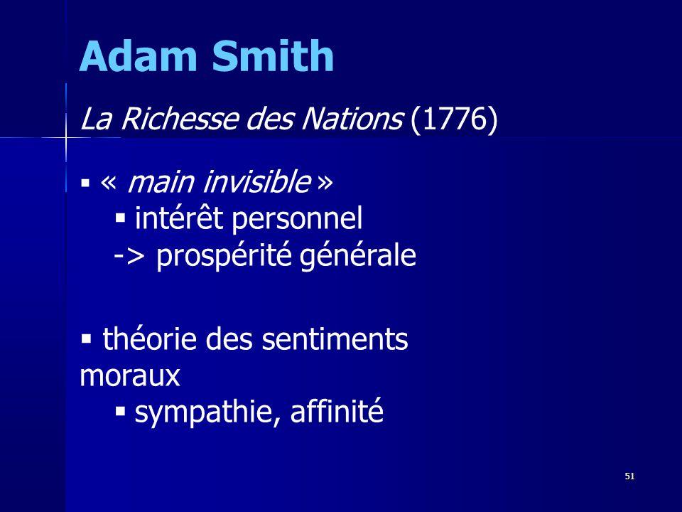 « main invisible » intérêt personnel -> prospérité générale théorie des sentiments moraux sympathie, affinité Adam Smith La Richesse des Nations (1776) 51