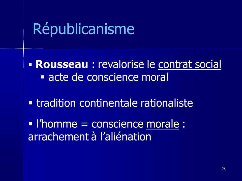 Rousseau : revalorise le contrat social acte de conscience moral tradition continentale rationaliste lhomme = conscience morale : arrachement à laliénation Républicanisme 52