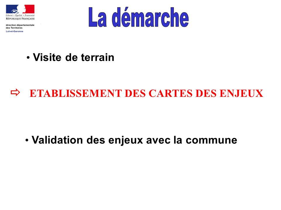 Visite de terrain ETABLISSEMENT DES CARTES DES ENJEUX Validation des enjeux avec la commune