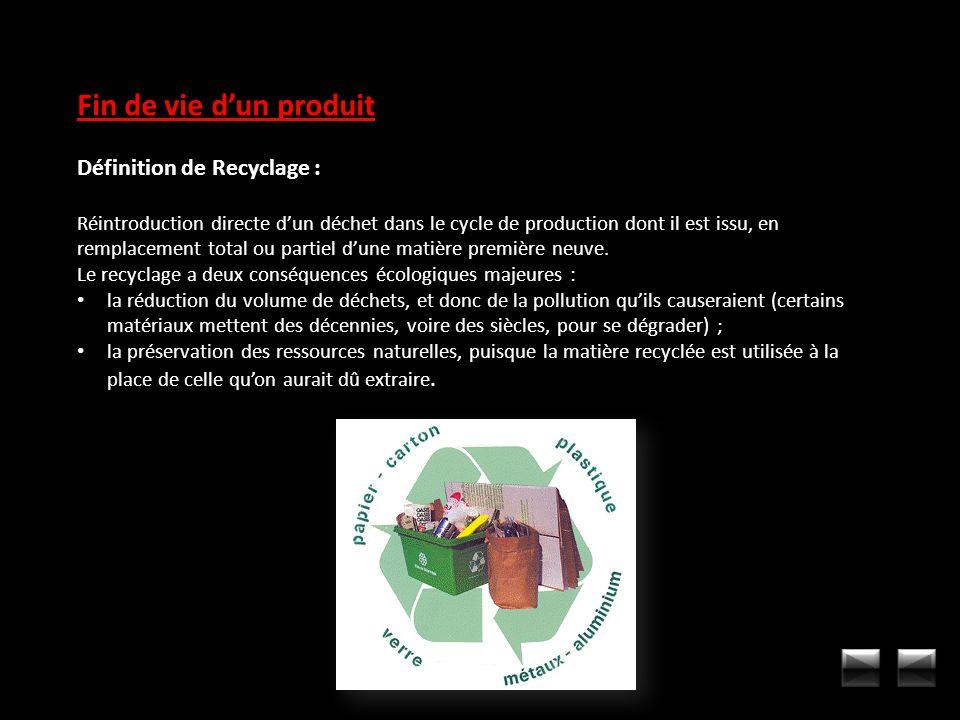 Fin de vie dun produit Définition de Recyclage : Réintroduction directe dun déchet dans le cycle de production dont il est issu, en remplacement total
