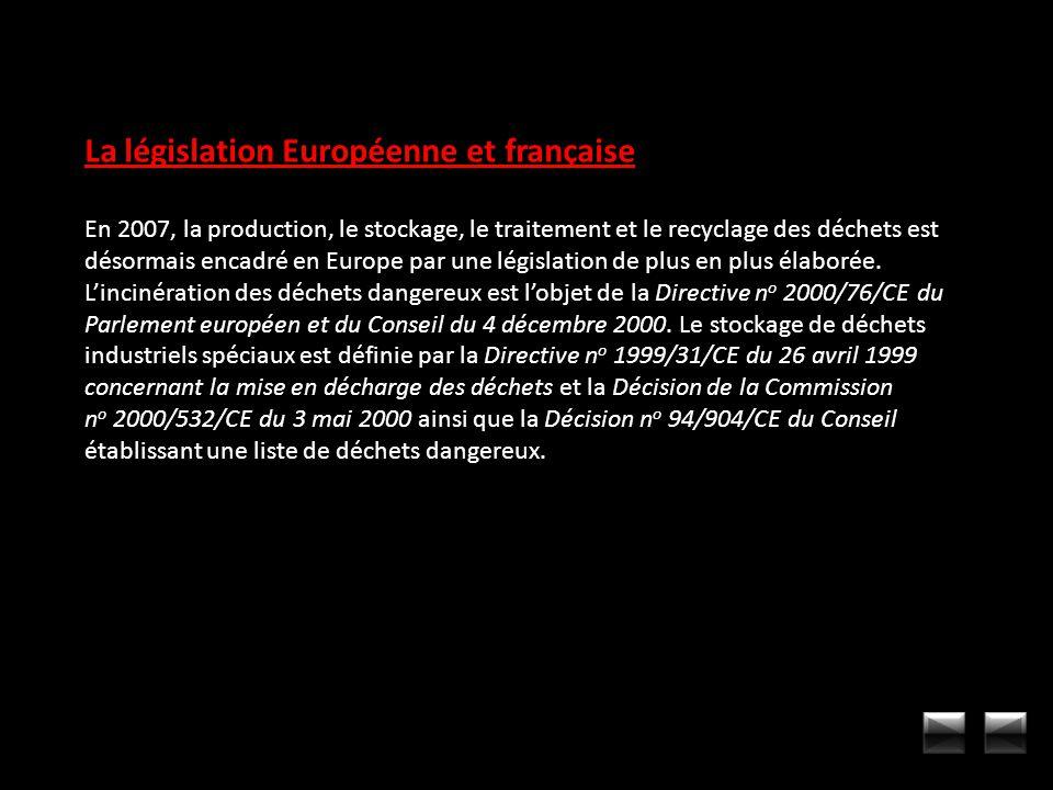 La législation Européenne et française En 2007, la production, le stockage, le traitement et le recyclage des déchets est désormais encadré en Europe