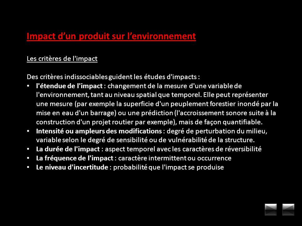 Impact dun produit sur lenvironnement Les critères de l'impact Des critères indissociables guident les études d'impacts : l'étendue de l'impact : chan