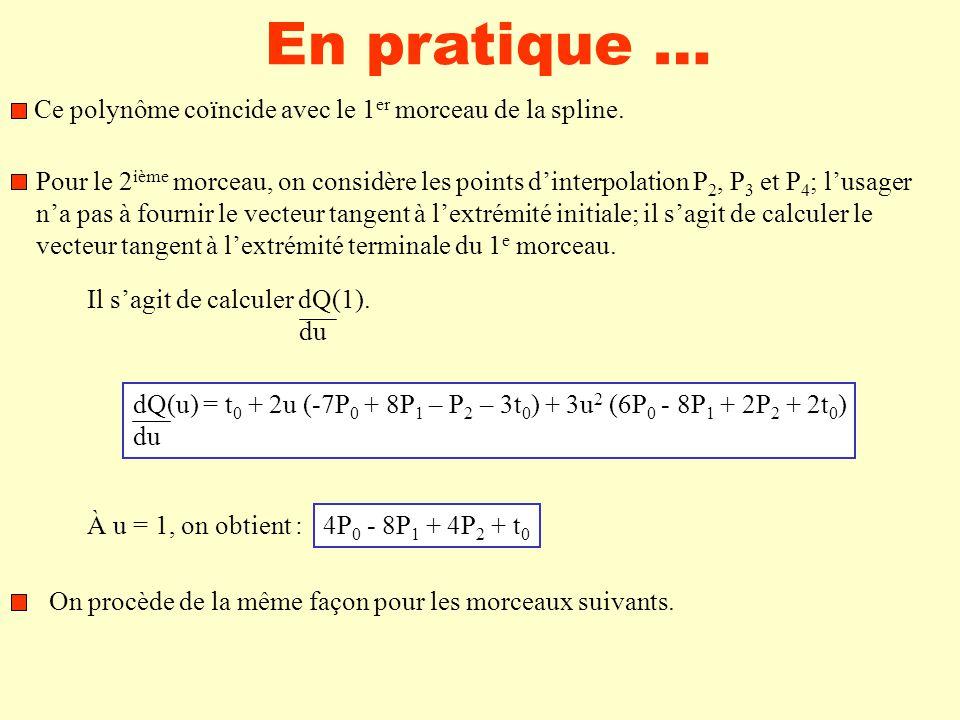 En pratique … Ce polynôme coïncide avec le 1 er morceau de la spline.
