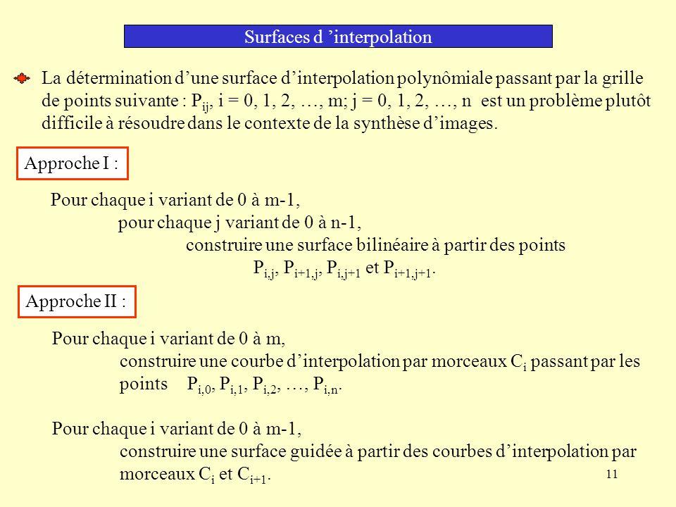 11 Surfaces d interpolation La détermination dune surface dinterpolation polynômiale passant par la grille de points suivante : P ij, i = 0, 1, 2, …, m; j = 0, 1, 2, …, n est un problème plutôt difficile à résoudre dans le contexte de la synthèse dimages.