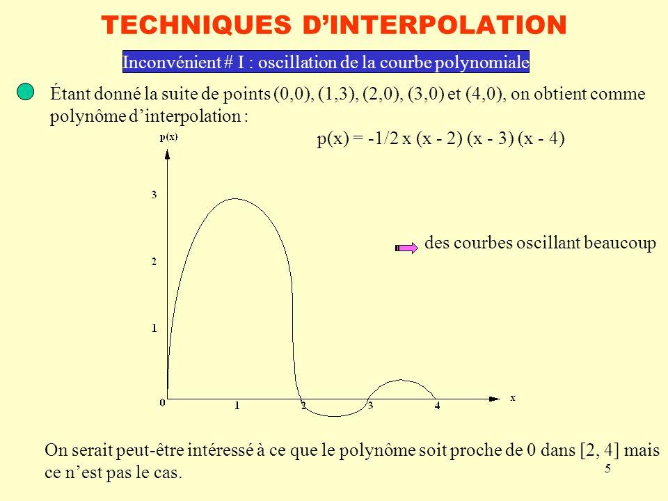 5 TECHNIQUES DINTERPOLATION Étant donné la suite de points (0,0), (1,3), (2,0), (3,0) et (4,0), on obtient comme polynôme dinterpolation : p(x) = -1/2 x (x - 2) (x - 3) (x - 4) Inconvénient # I : oscillation de la courbe polynomiale On serait peut-être intéressé à ce que le polynôme soit proche de 0 dans [2, 4] mais ce nest pas le cas.