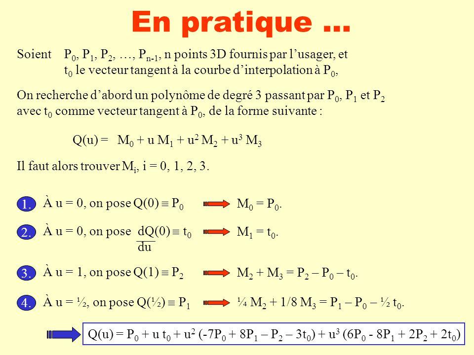 En pratique … Soient P 0, P 1, P 2, …, P n-1, n points 3D fournis par lusager, et t 0 le vecteur tangent à la courbe dinterpolation à P 0, On recherche dabord un polynôme de degré 3 passant par P 0, P 1 et P 2 avec t 0 comme vecteur tangent à P 0, de la forme suivante : Q(u) =M 0 + u M 1 + u 2 M 2 + u 3 M 3 Il faut alors trouver M i, i = 0, 1, 2, 3.