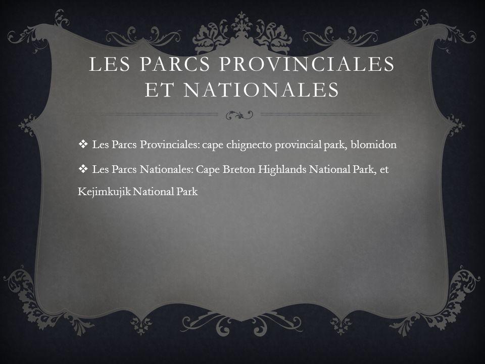 LES PARCS PROVINCIALES ET NATIONALES Les Parcs Provinciales: cape chignecto provincial park, blomidon Les Parcs Nationales: Cape Breton Highlands Nati