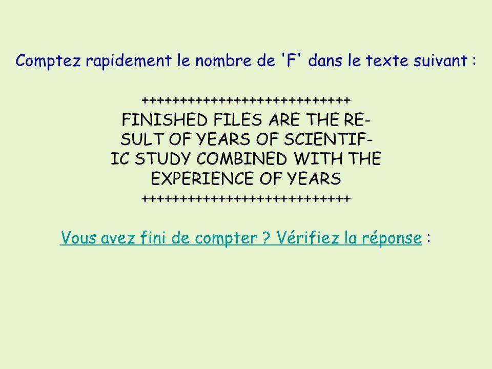 Comptez rapidement le nombre de 'F' dans le texte suivant : +++++++++++++++++++++++++++ FINISHED FILES ARE THE RE- SULT OF YEARS OF SCIENTIF- IC STUDY