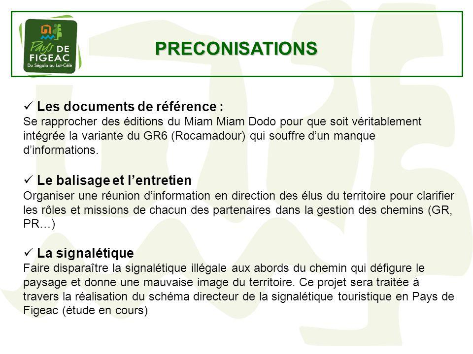 PRECONISATIONS Les documents de référence : Se rapprocher des éditions du Miam Miam Dodo pour que soit véritablement intégrée la variante du GR6 (Roca