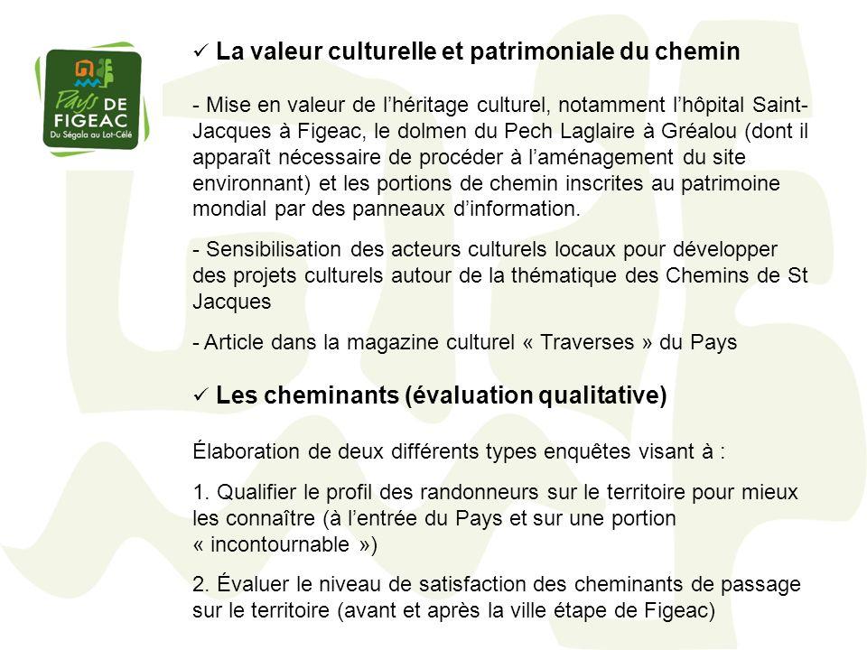 La valeur culturelle et patrimoniale du chemin - Mise en valeur de lhéritage culturel, notamment lhôpital Saint- Jacques à Figeac, le dolmen du Pech L