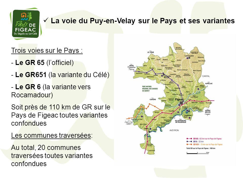 La voie du Puy-en-Velay sur le Pays et ses variantes Trois voies sur le Pays : - Le GR 65 (lofficiel) - Le GR651 (la variante du Célé) - Le GR 6 (la v