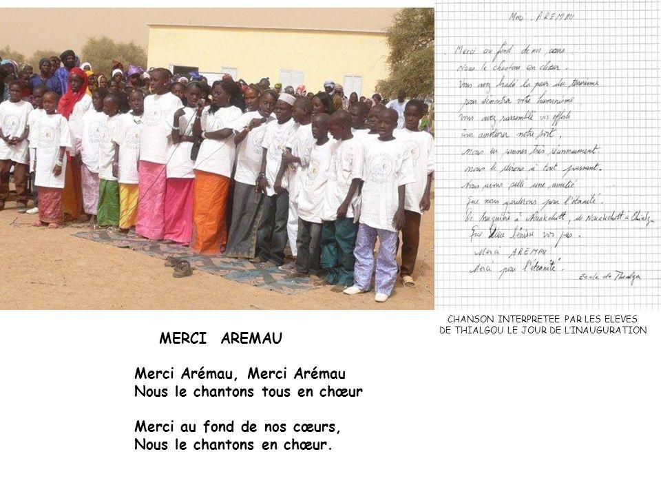 MERCI AREMAU Merci Arémau, Merci Arémau Nous le chantons tous en chœur Merci au fond de nos cœurs, Nous le chantons en chœur.