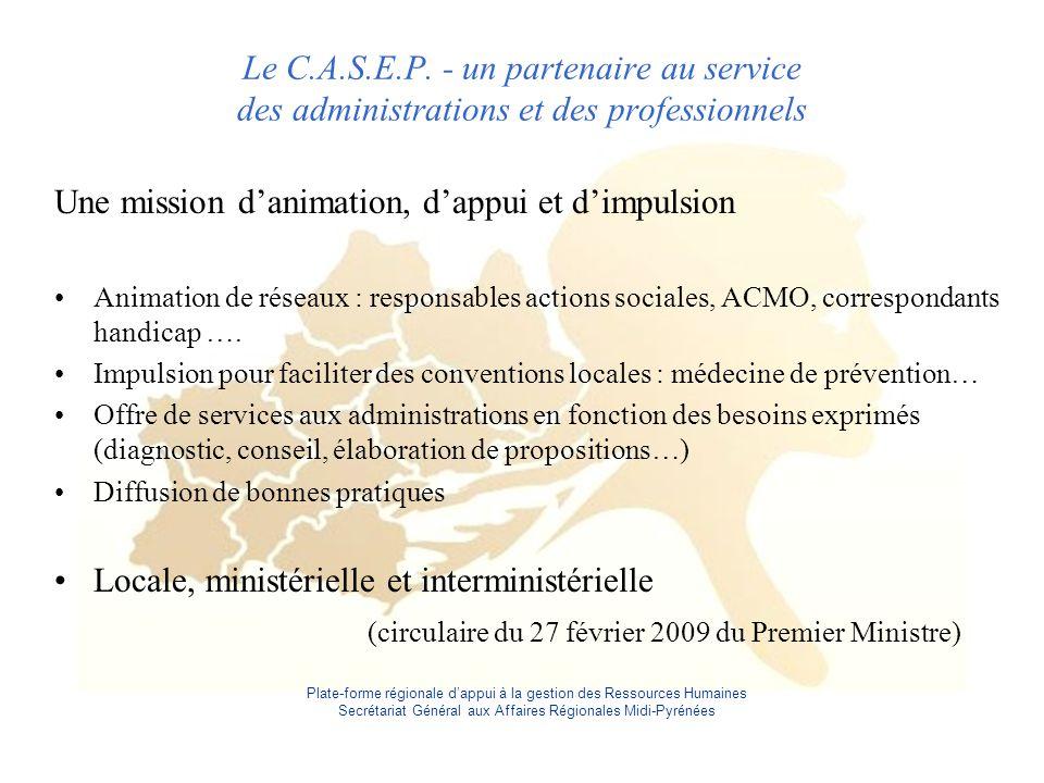 Plate-forme régionale d'appui à la gestion des Ressources Humaines Secrétariat Général aux Affaires Régionales Midi-Pyrénées Le C.A.S.E.P.
