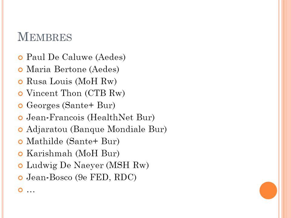 M EMBRES Paul De Caluwe (Aedes) Maria Bertone (Aedes) Rusa Louis (MoH Rw) Vincent Thon (CTB Rw) Georges (Sante+ Bur) Jean-Francois (HealthNet Bur) Adjaratou (Banque Mondiale Bur) Mathilde (Sante+ Bur) Karishmah (MoH Bur) Ludwig De Naeyer (MSH Rw) Jean-Bosco (9e FED, RDC) …