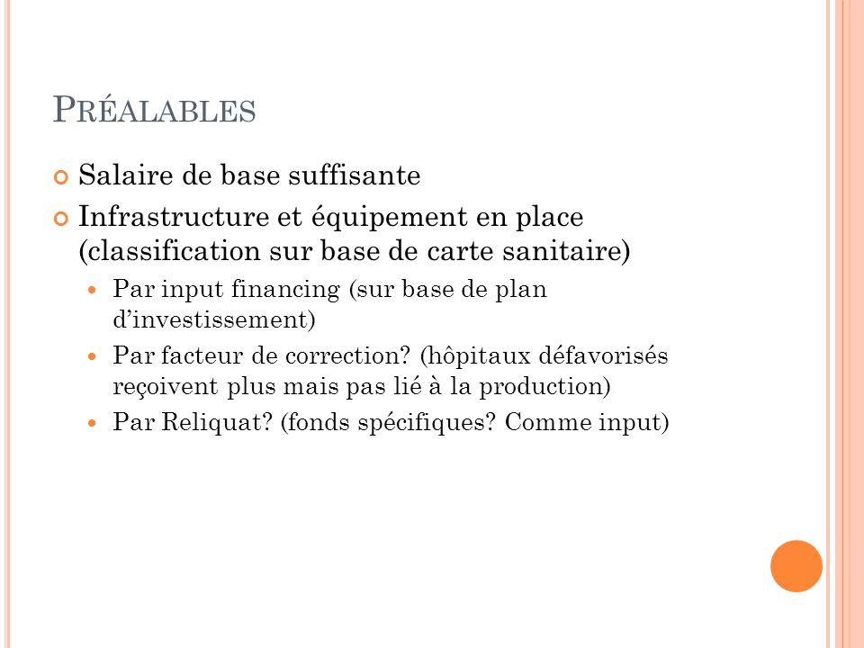 P RÉALABLES Salaire de base suffisante Infrastructure et équipement en place (classification sur base de carte sanitaire)  Par input financing (sur base de plan d'investissement)  Par facteur de correction.